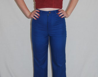 1970s Straight Leg High Waisted Blue Vintage Trousers