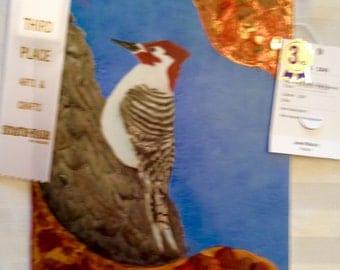 Red headed woodpecker tile