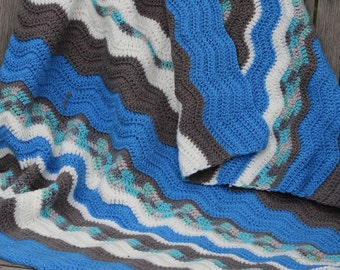 SALE** Ocean Blue, gray, and white crochet baby blanket, Baby afghan, Boy baby blanket, Small toddler  boy blanket