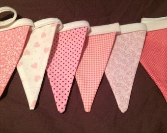 Pink bunting - girls room bunting - girls bunting - pink girly bunting - 6 flag bunting - girls room decor