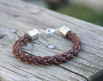 Red Brown Braided Leather Bracelet - Leather Jewerly - Leather Bracelet for Men or Women