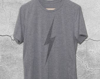 Lightning Bolt Shirt - Graphic Tees for Men & Women - Vintage Style T-Shirts - Striped Lightning Bolt Tee - Minimal Graphic tee - Flash Tee