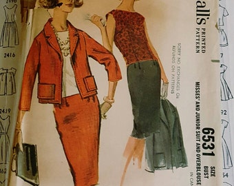 1962 McCall's 6531 Misses Skirt Suit With Overblouse Size 14 CUT Complete Sewing Pattern ReTrO 60s!