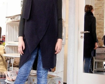 Flattering Loose Sleeveless Cardigan / Oversized Art Vest / Cashmere Maxi Vest / Scarf Art Vest / Black Cashmere Wool Vest