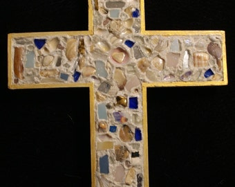 """9"""" Wooden Cross Embellished With Shells, Glass"""