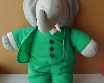 Stuffed BABAR - King of the elephant - parachute canvas - vintage toy