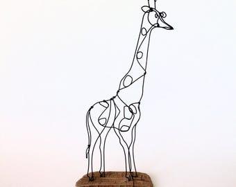 Giraffe decor. Wire sculpture. Wildlife art. Rustic home decor. Modern art. Contemporary decor. Animal sculpture. Neutral Nursery decor.
