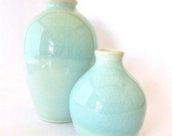 Light Blue Porcelain Bud Vases