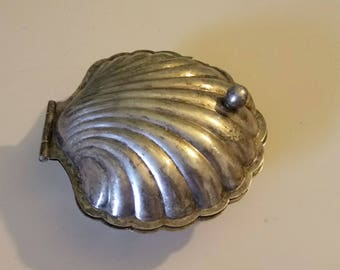 Vintage E.P.N.S. Silver Plate Clam Shell Caviar Lidded Bowl Glass Insert  Made In England