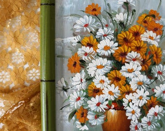 original oil painting on canvas - signed by artist - impasto oil painting - daisy bouquet still life - vintage oil painting - original art