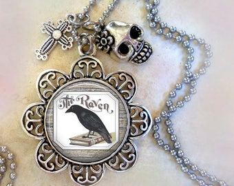 Edgar Allan Poe Raven Necklace with Cross and Skull Charms, Edgar Allan Poe Fan Gift, Gothic Gift, Birthday Gift