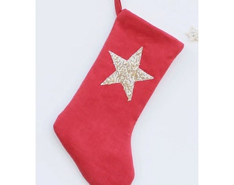 Christmas Stocking Sequin Christmas Stockings Red Christmas Stocking Linen Christmas Stockings Star Christmas Decor Kids Stockings