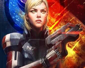 Mass Effect 3 Paragon and Renegade Femshep Open Edition Art Print 11x17 inch