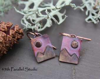 Mountain Earrings, Artisan Copper Earrings, Mixed Metal Earrings, Rustic Copper Earrings, Copper and Brass Earrings