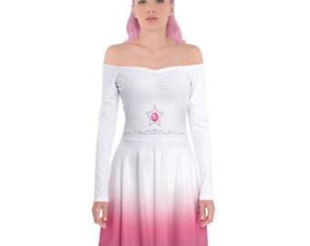 Rose Quartz Cosplay Dress - Long Sleeve Skater Dress Steven Universe Dress Cosplay Dress Comicon Dress Plus Size Dress Rose Quartz Cosplay