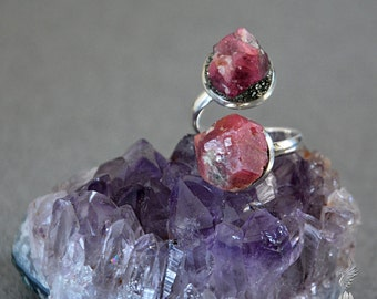 Raw Garnet Ring - January Birthstone Jewelry - Crystal Jewelry - Raw Crystal Ring - Boho Alternative Engagement Ring - Birthday Gift for Her
