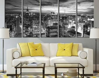 Large Wall Art NEW YORK Canvas Prints - Black and White New York City Skyline with Tall Skyscrapers
