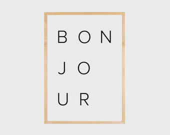 Bonjour Print, Bedroom Wall Decor, Bonjour, Typography Print, Printable Art, Fashion Wall Art, Bedroom Wall Art, French Poster, Minimalist