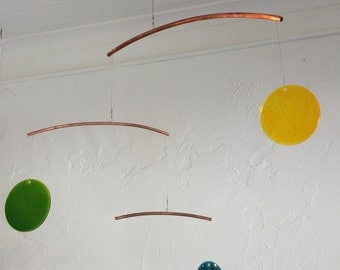 Glass & Copper Mobile - 4-light - three copper arms - larger glass rounds - Mobile Art - Zen Movement -