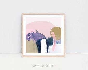 Square Abstract Contemporary Art Print, Digital Download, Navy, Pink, Mustard, Gold, Watercolor, Printable 12x12 print