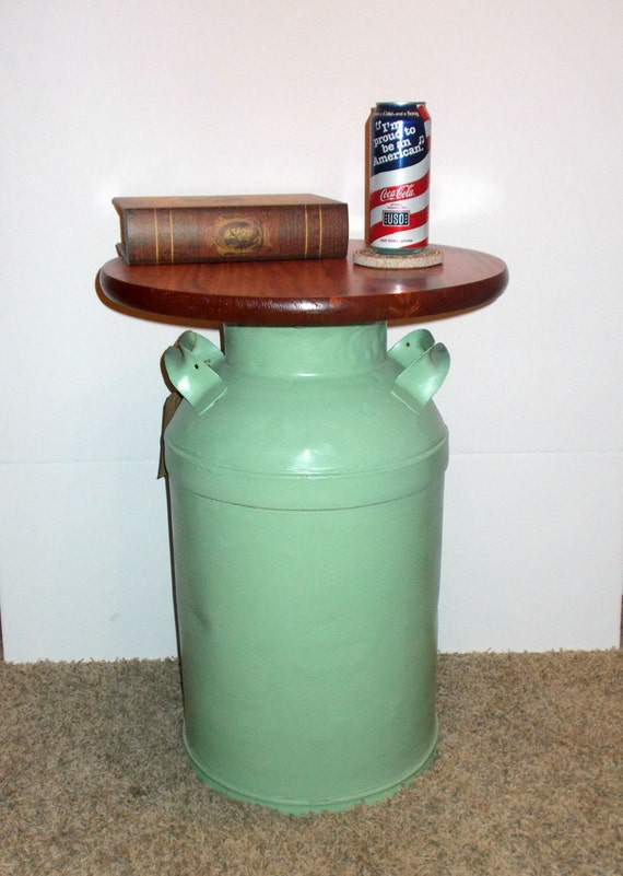 Vintage milk can end table authentic repurposed furniture for Repurposed milk cans