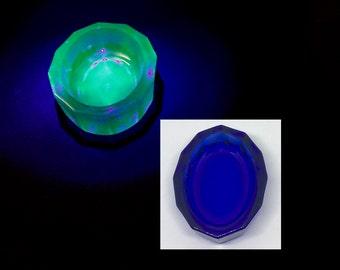 Vintage Uranium Vaseline Glass Cobalt Blue Salt Jewelry Trinket Treasure Dish Glows