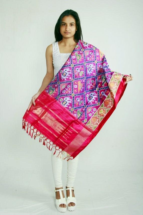 Handloom Silk Ikat Dupatta  (Stole, Shawl, Scarf)