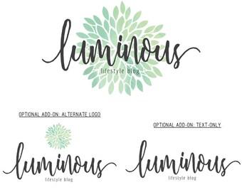 Premade Logo Set, Lifestyle Blog Logo, Shop Logo, Watercolor Logo, Flower Logo, Boutique Logo, Cosmetics Logo, Shop Sign, Custom Logo