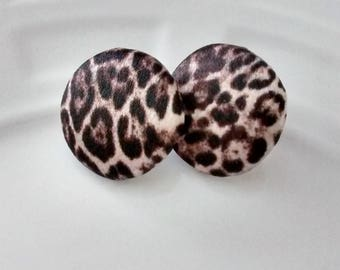 Leopard Print Stud Earrings made with Satin Fabric, Cute Chic Stud Earrings