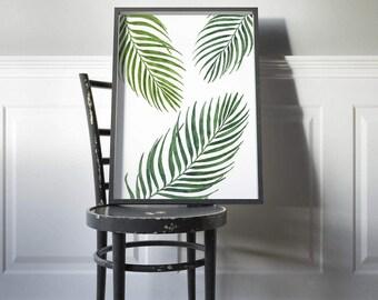 Palm Wall Art Print, Printable Leaf Palm, Palm Leaf Poster, Plant Art Printable, Plant Art Print, Tropical Leaf, Palm Leaves, Tropical Decor