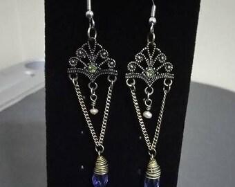 "Earrings  Diamond Crystal    burnished gold drop pendants  ""burnished gold fan drop"""