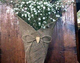 Hearts  & Twine Natural Hessian Burlap Rustic Pew Cone and Chair Cone