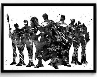 Justice League Team, Superheroes, Watercolor Print, Black and White, Poster, Room Decor, gift, print, wall art (418)