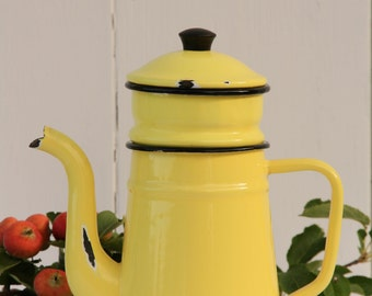 French vintage enamel cafetiere in yellow