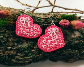Heart earrings Love earrings Love jewelry Knitted heart Romantic jewelry Magenta Valentines Love gifts Gift for her Gift for wife