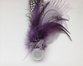 feather clip; feather fascinator; feather brooch; wedding hair clip; feather hair clip; purple feather corsage;
