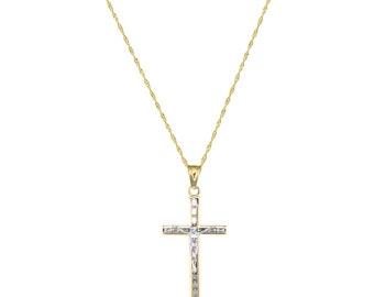 10K Solid Yellow Gold Cubic Zirconia Crucifix Cross Pendant Singapore Chain Necklace Set - Jesus Polished Charm