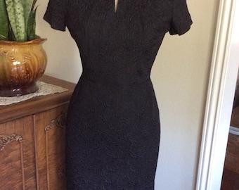 Black Wiggle Dress 1950's 1960's X-small