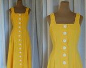 Lemon Dreams Dress / Vintage 1970s Jumper / Dirndl / Retro / Timeless / Modest / Sz S-M / 70s
