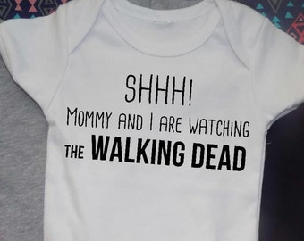 The Walking Dead kid baby shirt, Sh listening with mommy, Funny, fandom tees, baby shower, tv show t-shirt, gift dad, baby gift, bodysuit
