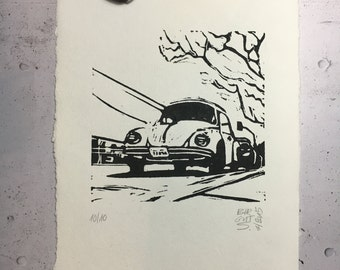 VW Beetle in California - original linocut