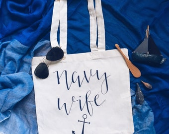 Navy wife canvas tote bag!  Navy wife, Navy mom, Navy sister, Navy Family gift! Military family gift