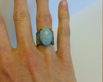 silver ring. 925%. with natural stone