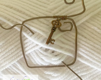 Aged Brass Square Shawl Pin with Key Charm / Jewelry / Handmade / Women's Gift Idea / Rustic / Hammered