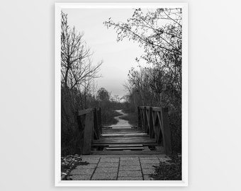 Grunge Bridge Digital Print Photo Instant Downloadable Image Photography Black White Dark Download Large Poster Printable Road Path Way Art