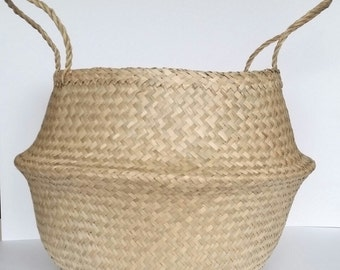 Large Seagrass Basket, Natural Panier Boule Storage Tote