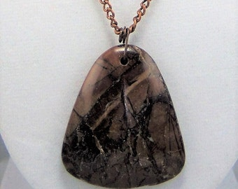 N117, Brown Jasper Pendant Necklace
