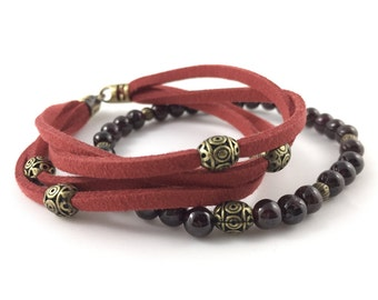 Garnet Braclet with Brass touches - comes with burnt faux suede bracelet