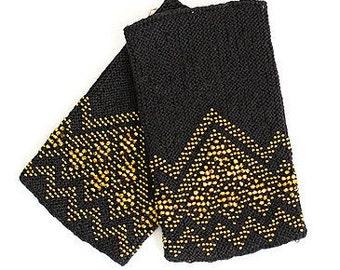 Knitted black color beaded wrist warmers / arm warmers / hande warmers / wristlet