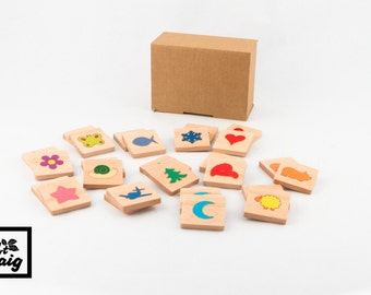 Wood memory game. Wooden Toy for children. Toy to develop memory